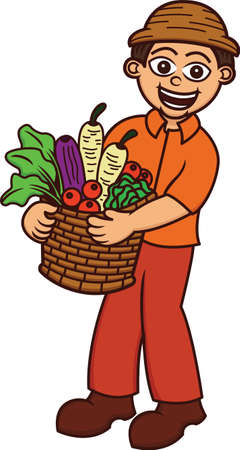 happy farmer: Cartoon illustration of a happy farmer carrying a full basket of vegetables isolated on white