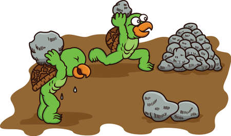 Cartoon illustration of two turtles racing while carrying rocks to build stack of rocks