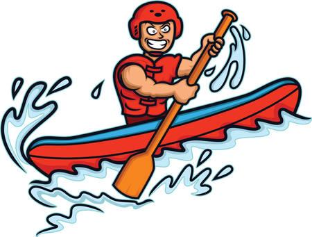 White Water Rafter Cartoon Illustration isoliert auf weiß