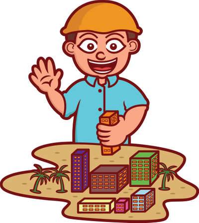 Boy Playing As Architect with Building Miniatures Cartoon Illustration Isolated on White
