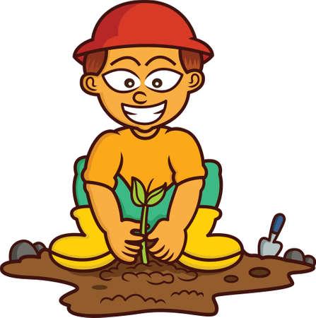 planting tree: Boy Planting Tree Cartoon Illustration Isolated on White