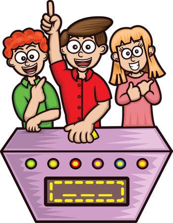 ゲーム番組の競技者漫画イラスト白で隔離