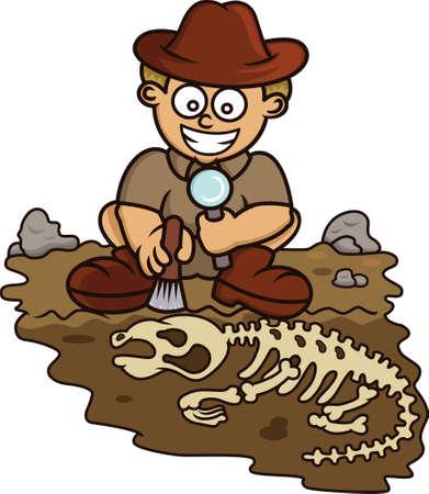 Giovane archeologo Alla scoperta del fumetto illustrazione isolato su bianco Logo