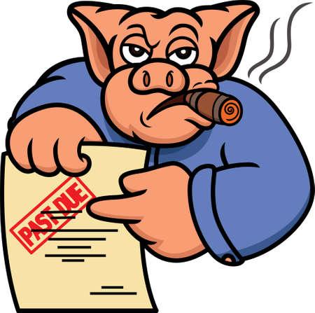 Pig Debt Collector lub wierzyciela z przeszłym oświadczeniem Zobowiązanie Cartoon Illustration