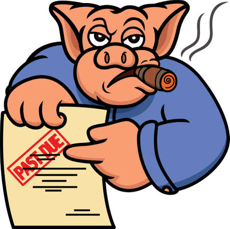 Pig Debt Collector or Creditor with Past Due Statement Cartoon Illustration