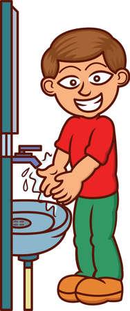 wash hand stand: Man Washing Hands Cartoon Illustration Isolated on White Illustration