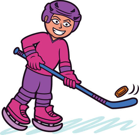 ice hockey player: Ice Hockey Player Cartoon Illustration Illustration