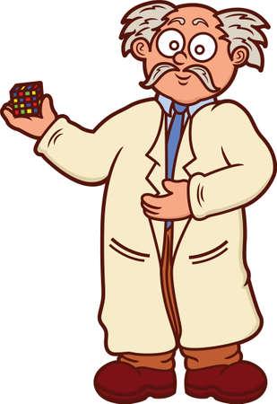 Professor Holding Puzzle Cube Cartoon Illustration Isolated on White