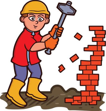 labourer: Man Tearing Down Bricks with Sledgehammer Cartoon Illustration
