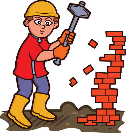 Man Tearing Down Bricks with Sledgehammer Cartoon Illustration