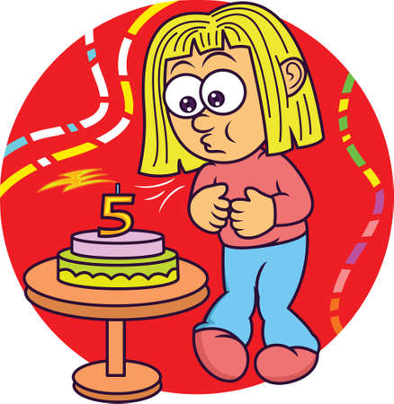 Funny Little Girl Blowing Out Candle on Birthday Cake Cartoon Illustration on Isolated Background Illustration