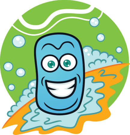 Soap with Bubbles Cartoon Illustration