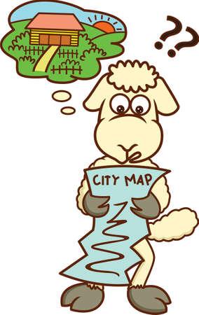 Lost Sheep Looking at City Map Cartoon Illustration Иллюстрация
