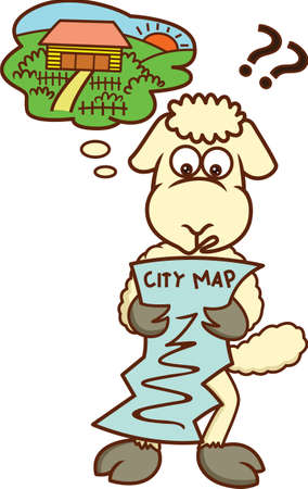 Lost Sheep Looking at City Map Cartoon Illustration Illustration