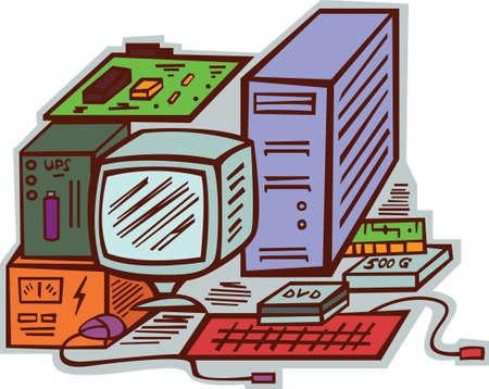 expansion card: Computer Hardware Cartoon Illustration
