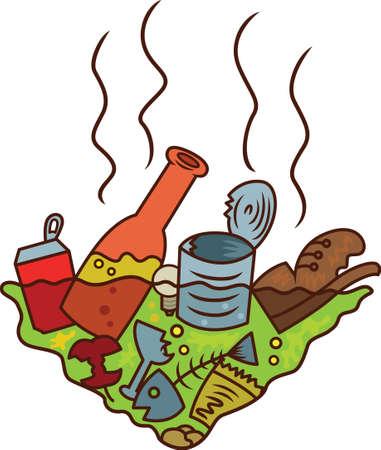 Pond of Rubbish Cartoon Illustration