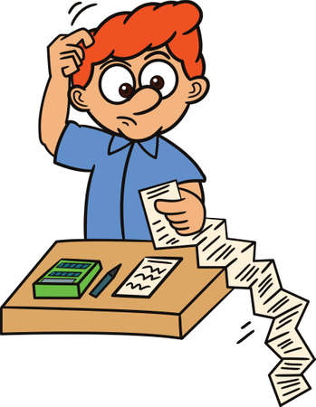 pen and paper: Confused Man with List of Payment Paper Cartoon Illustration