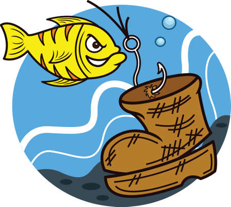 Fish Hooking Fishing Line to an Old Boot Cartoon Illustration