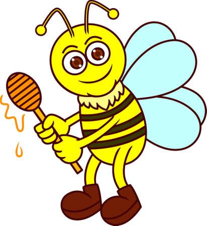 dipper: Funny Bee with Honey Dipper Cartoon