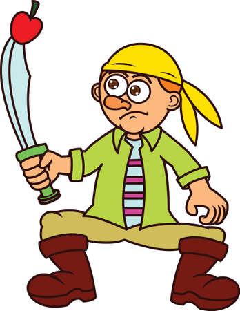Pirate Stabbing Apple Cartoon Illustration