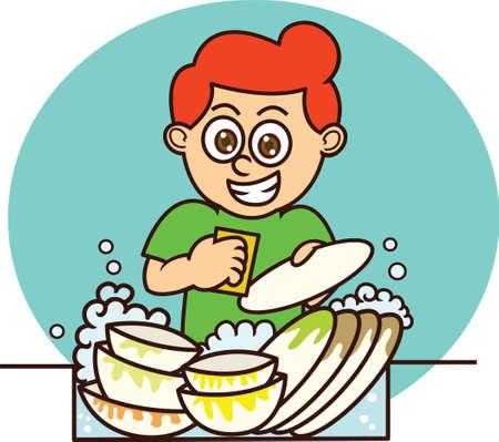 Young Man Washing Dishes Cartoon Illustration on Isolated Background