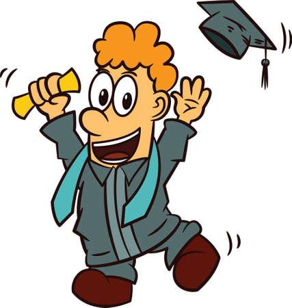 Young Man Celebrating Graduation Day Cartoon Illustration Illustration