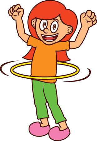 hula hoop: Happy Girl Playing Hula Hoop Cartoon Illustration Illustration