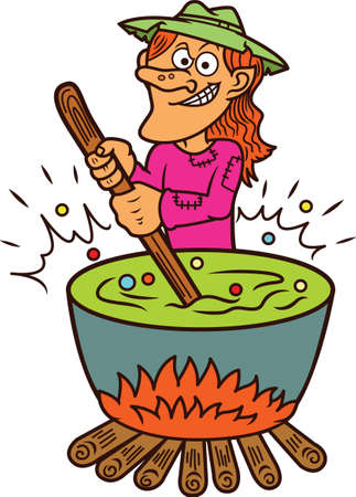 potion: Witch Making Potion Cartoon Illustration Illustration