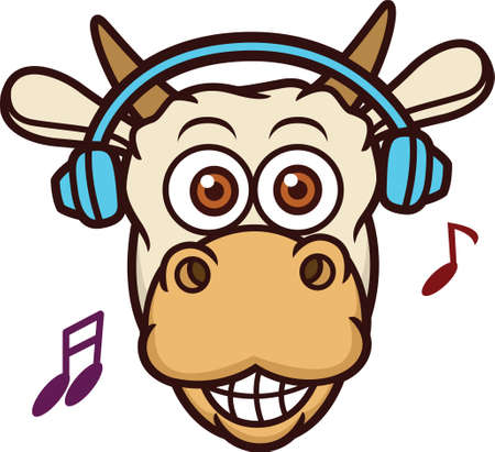 Cow Listening Music with Headphone Cartoon Illustration