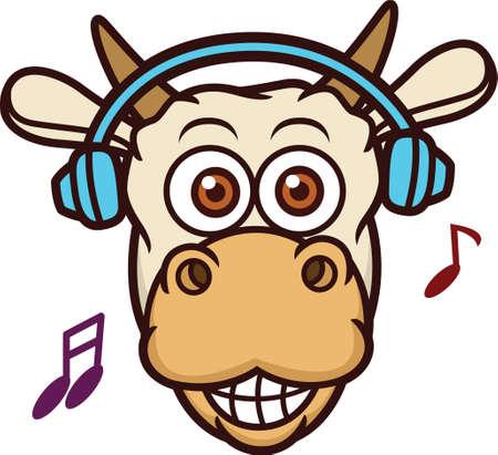 Cow Listening Music with Headphone Cartoon Illustration