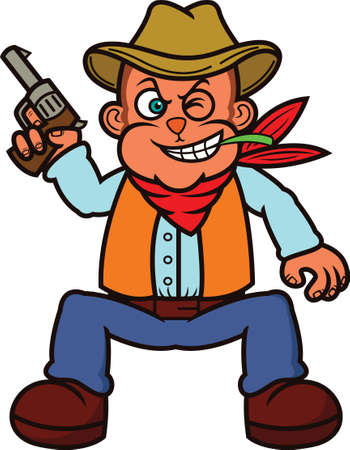 toothy smile: Monkey Cowboy with Gun Cartoon Illustration
