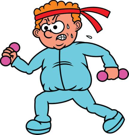 sweaty: Fat Man Exercising Cartoon Illustration