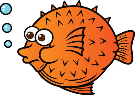 Puffer Fish Cartoon Illustration 矢量图像