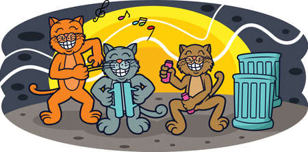 toothy smile: Funny Cats Band Concert at Night Cartoon Illustration
