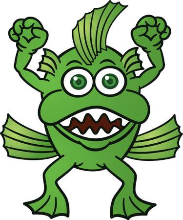 Monster Fish Cartoon Illustration
