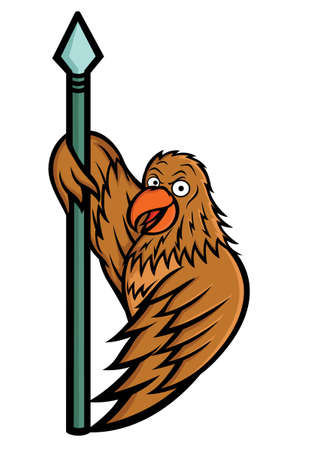 Hawk Holding Spear Illustration