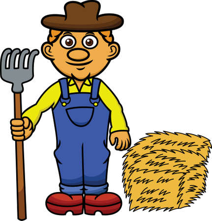 pitchfork: Farmer with Pitchfork and Hay Cartoon Illustration