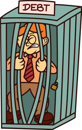 Man in Cage of Debt Cartoon Illustration Illustration