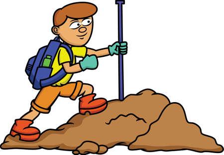 traveler: Young Traveler Walking on Boulders Cartoon Illustration
