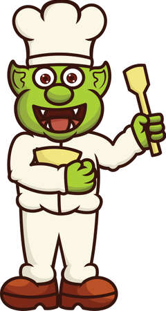 Funny Orc Chef with Bowl and Spatula Cartoon Illustration Illustration