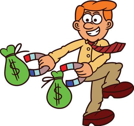 Businessman Using Magnet To Get Sacks of Money Cartoon Illustration Illustration