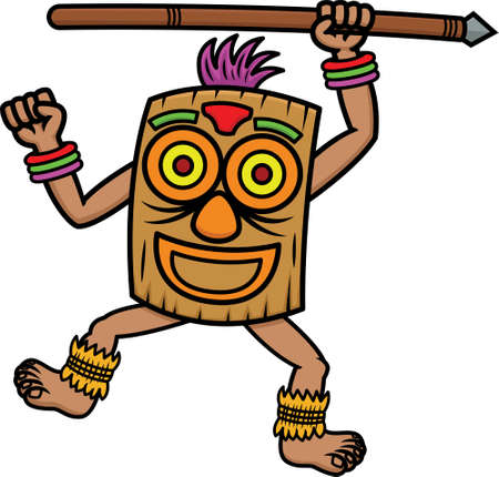 zulu: Tribal Warrior with Mask and Spear Cartoon Illustration