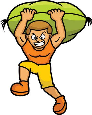 tetbury: Man Carrying Sack Cartoon Illustration
