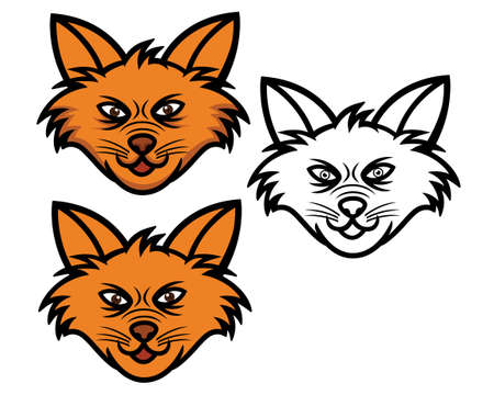 layer style: Fox Head Cartoon. Thick, Flat, and Line art Style. Each on Different Grouped Layer