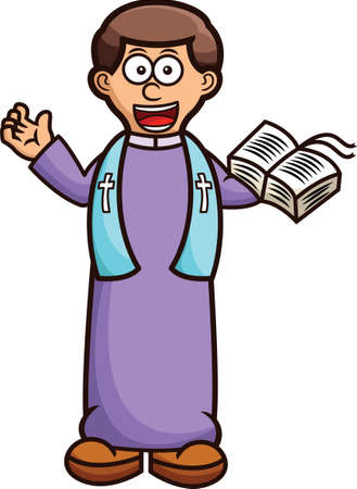 christian young: Pastor with Holy Bible Cartoon
