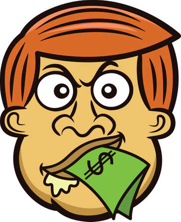 Cartoon Mans Head with Money in His Mouth