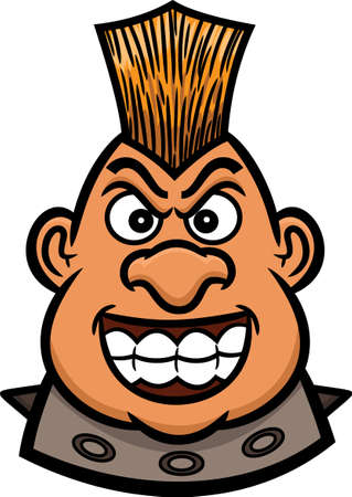 Mohawk Warrior Head Cartoon Figure for Band Leader, Bikers or Riders Community