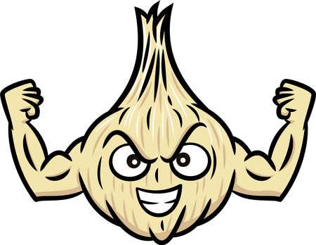 muscular: Strong Muscular Garlic Cartoon