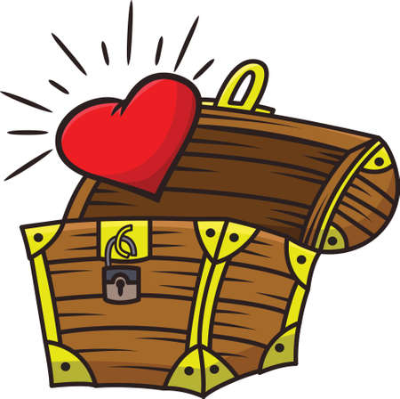 Heart Coming Out Of The Treasure Chest Cartoon Illustration Isolated on White