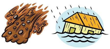 natural disasters: Flood and Landslide Natural Disasters Illustration